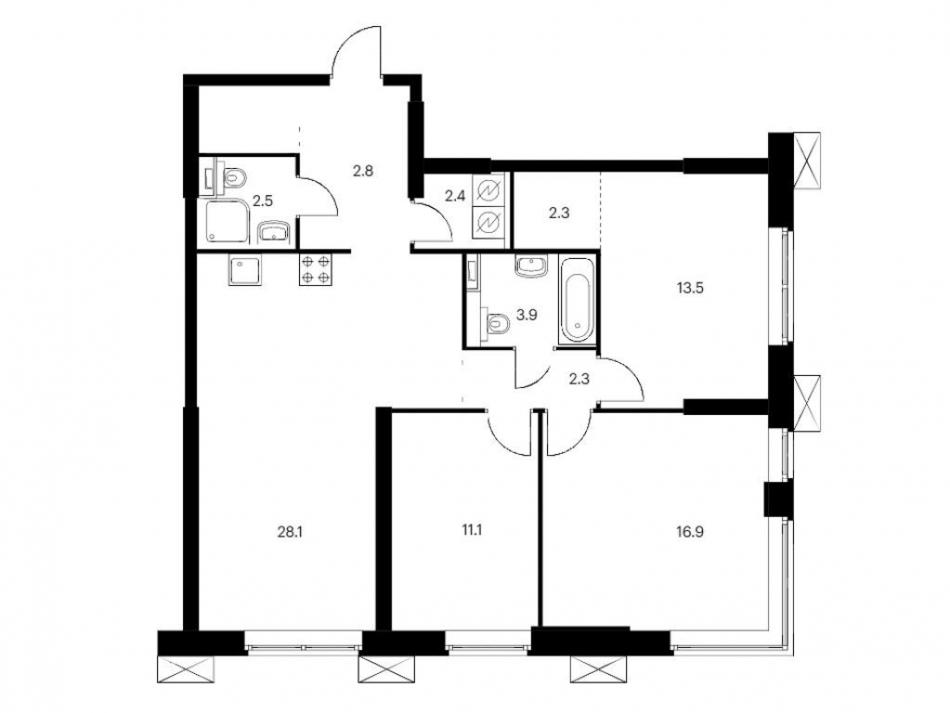 Продажа 3-комн квартиры в новостройке Волоколамское ш., вл. 24, блок 2