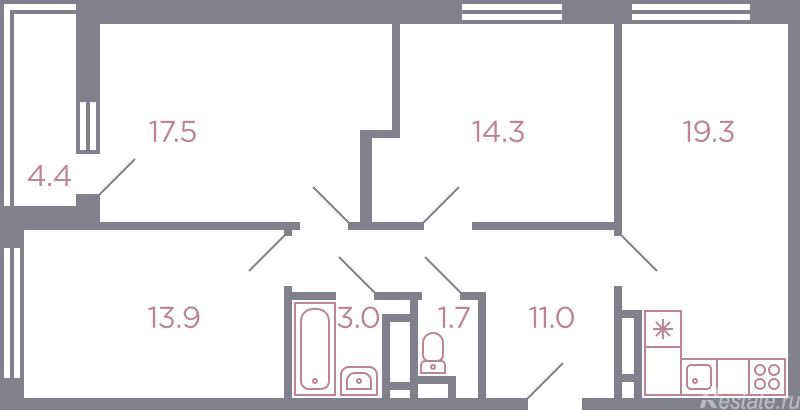 Продажа 3-комн квартиры в новостройке Красногорск, серебрянка улица , корп. 1