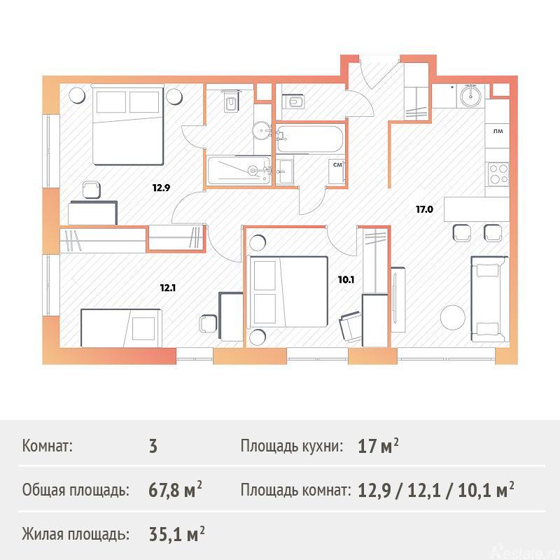 Продажа 3-комн квартиры в новостройке Рязанский пр-кт, с26к2
