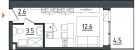 Планировка ЖК «Морская Ривьера», 12.6 м2