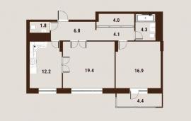Двухкомнатная квартира,   Вавилова ул, д. 27-31