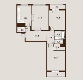 Трехкомнатная квартира,   Вавилова ул, д. 27-31