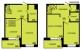 Планировка ЖК «Шведская крона», 43.87 м2